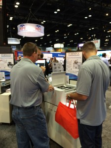 Getting a demo at the Formax booth